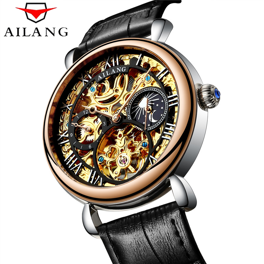 Tourbillon Business Mens Watches Top Brand Luxury Shockproof Waterproof Skeleton Watch Men Mechanical Automatic Wristwatch huter w105 gs
