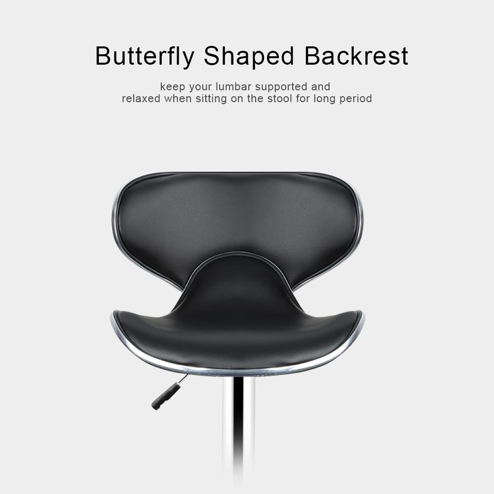 2pcs Fashion Adjustable Gas Lift Bar Stools Bar Chairs Modern PU Leather Hollow Backrest Kitchen Home Bar Furniture Chair HWC