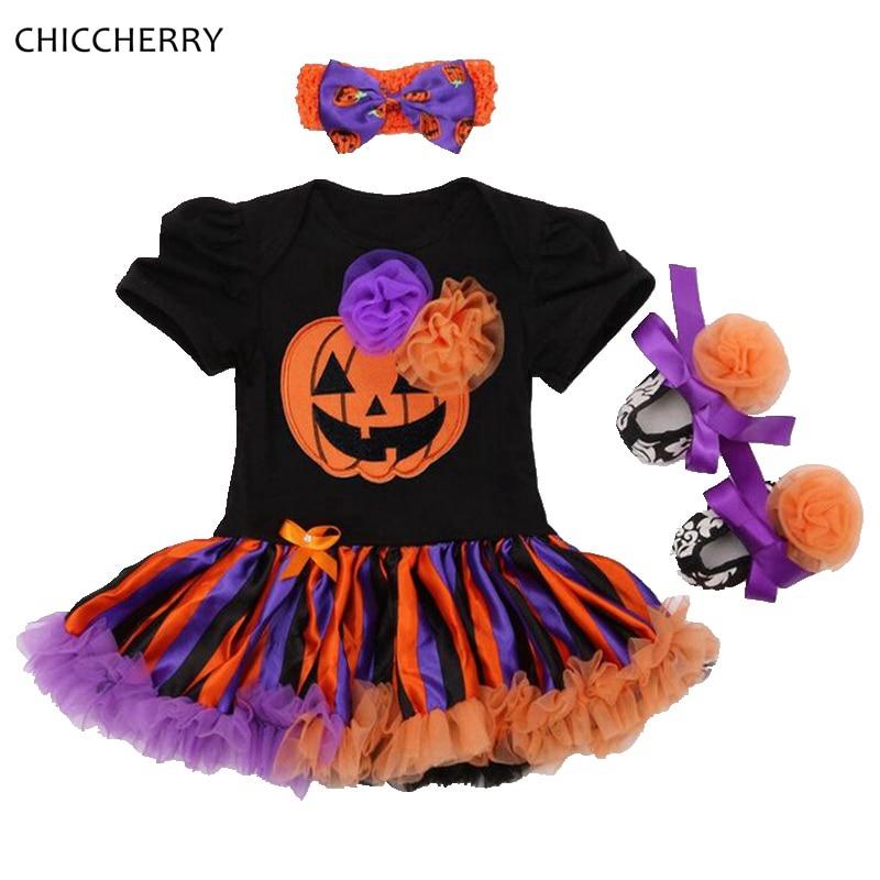 6eb1720af1ae Orange Pumpkin Kids Halloween Costumes For Girls Clothing Sets Newborn Lace  Petti Romper Crib Shoes Headband 3PCSInfant Clothing 1 Set   3PCS  Lace ...
