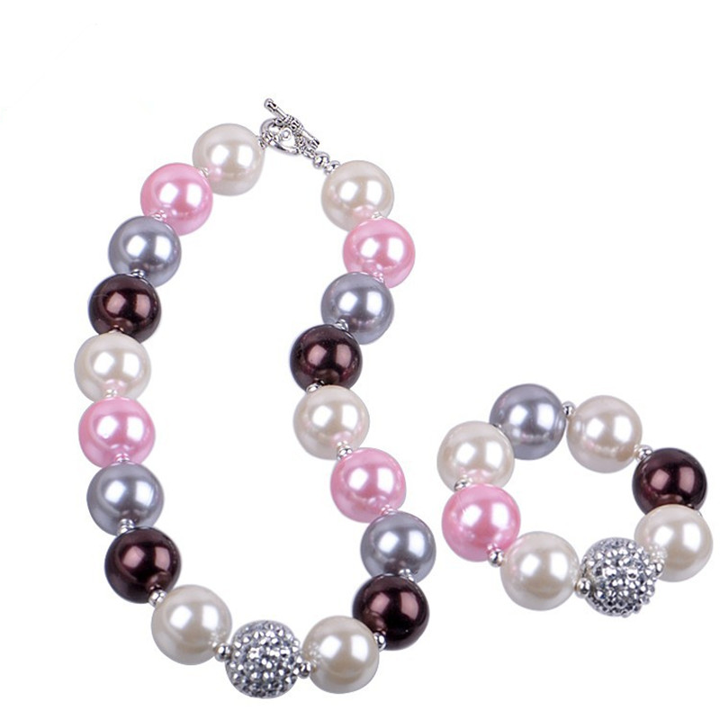 2015 New Fashion Kids Chunky Acrylic Pearl Jewelry Sets For Baby