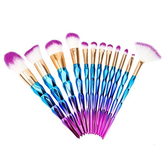7/10/12Pcs Diamond Shape Best Makeup Brush Set