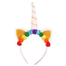 Princess Unicorn Headband Party Decorations Head Hoop Unicorn Hair Buckle Carnival Halloween Children Prop Party Supplies цена в Москве и Питере