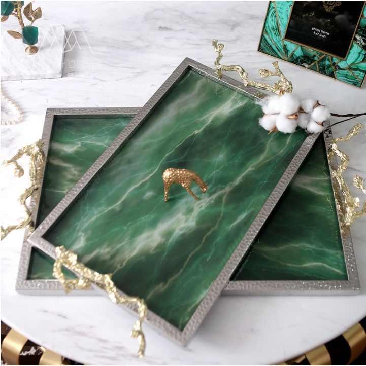 Smaragd Teller/Künstliche Stein/Silber Beschichtung Rahmen