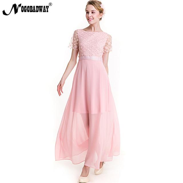 9210ab9c71be7a NOGOBADWAY chiffon maxi jurk elegante roze lange jurken vrouwen zomer 2018  floor lengte casual slim mesh