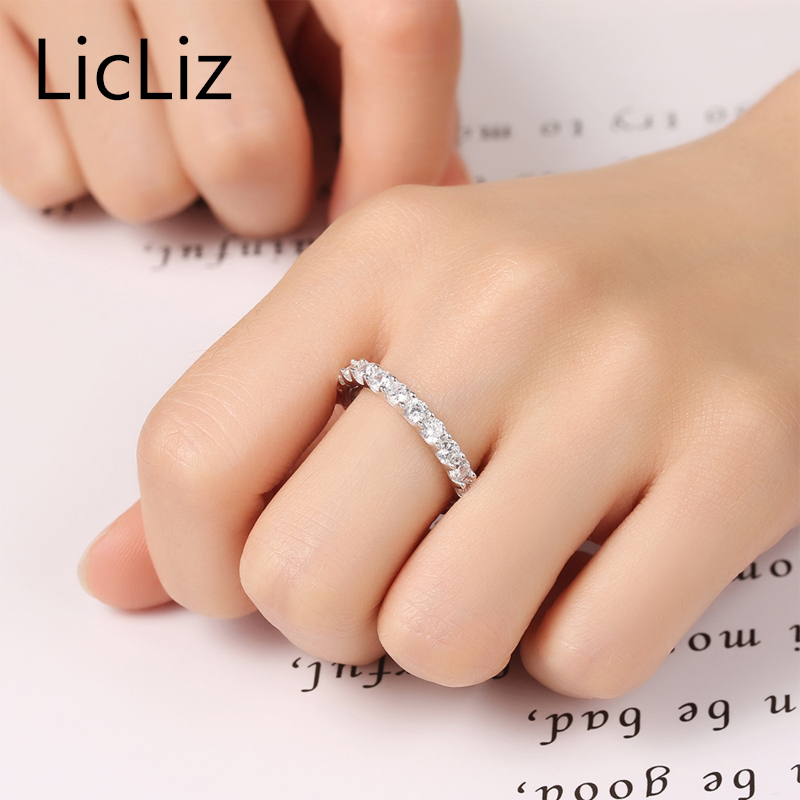 LicLiz 925 Sterling Silver Eternity Rings CZ Wedding Bands Cubic Zirconia Engagement Rings Women Marriage Promise Ring LR0342 in Rings from Jewelry Accessories