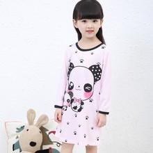 Hot sale Long sleeve girl's Nightgown, Spring and autumn Cartoon night dress, kids pajamas, Knitted cotton children sleepwear