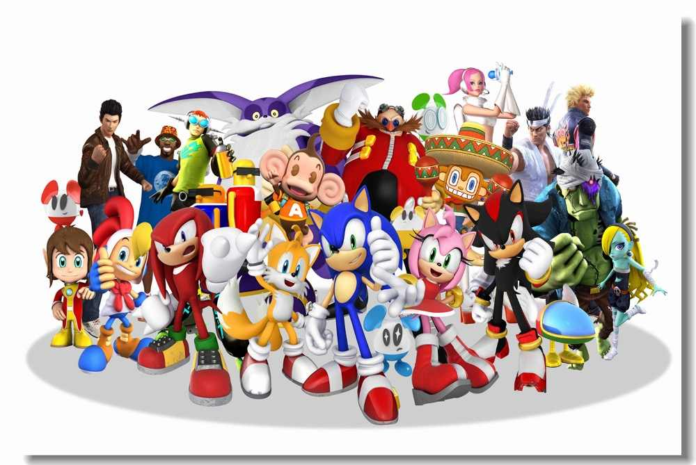 Custom Canvas Wall Decal Sonic The Hedgehog Poster Super Smash Bros Wallpaper Sonic Decoration Kids Bedroom Sticker Mural 0463 Aliexpress