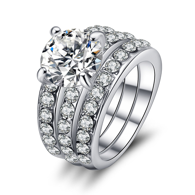 Aliexpresscom Buy CZ Engagement Wedding Ring Set 925 Silver