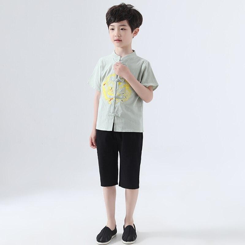 Enfants Hanfu Costume Style chinois été garçons Tang Costume chinois ancien et traditionnel enfants vêtements Folk danse porter DQL778