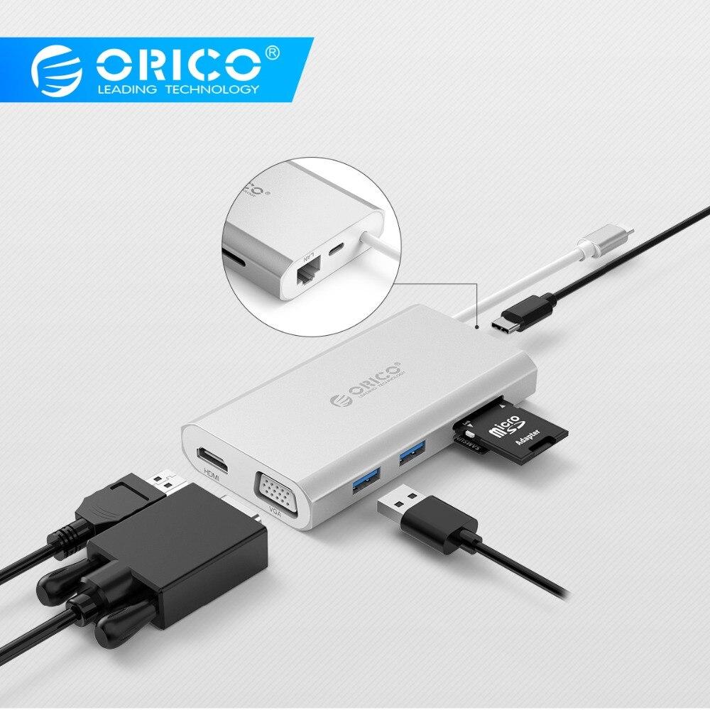 ORICO 7-in-1 USB-C Type-C Desktop Laptop Docking Station for MACbook Apple USB-C to HDMI 4K VGA Port HUB RJ45 Network ConverterORICO 7-in-1 USB-C Type-C Desktop Laptop Docking Station for MACbook Apple USB-C to HDMI 4K VGA Port HUB RJ45 Network Converter