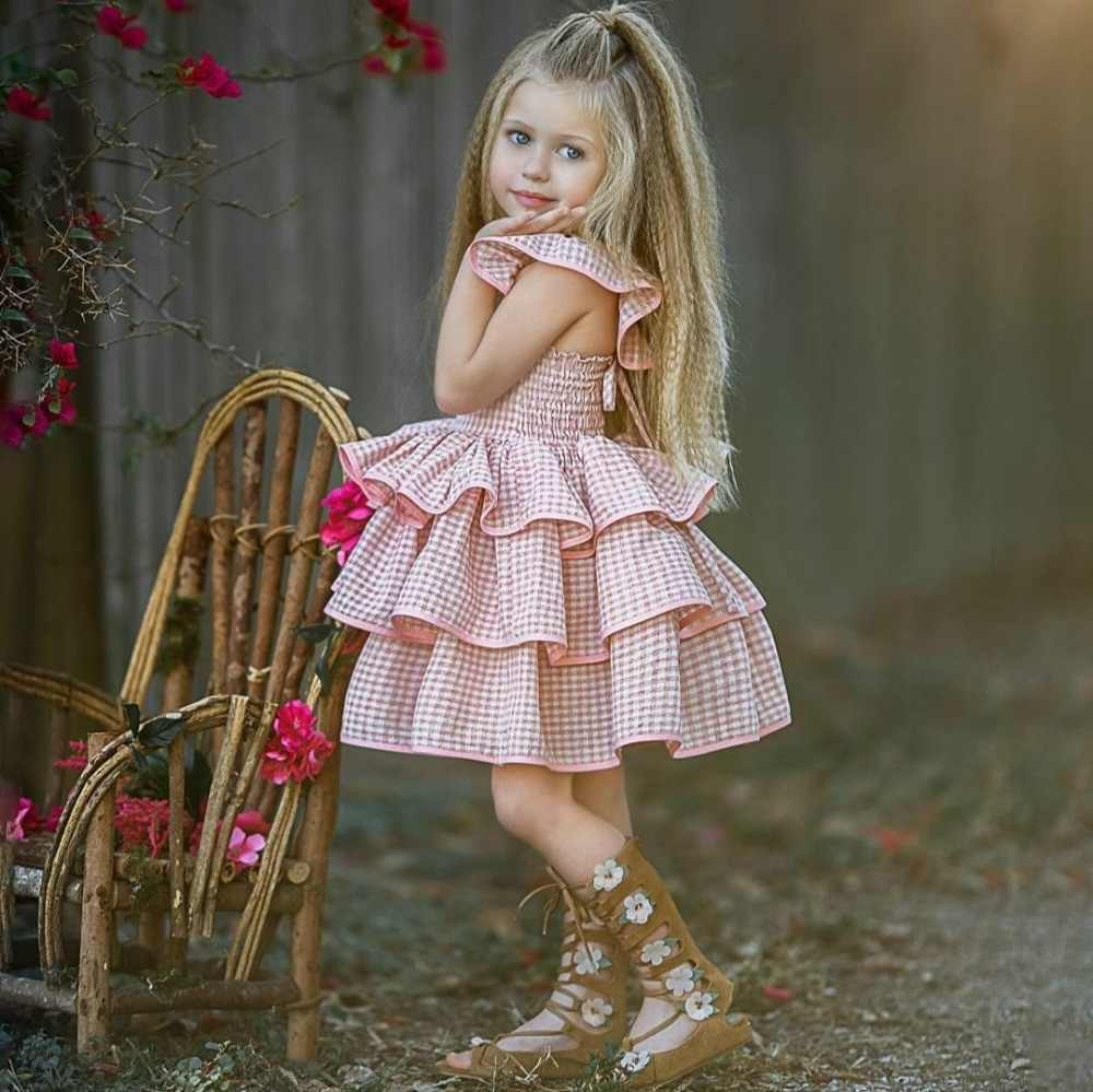 1 to 5 Y Summer Baby Girl Dress Clothes Toddler Kids Girls Ruffled Tutu Dresses Sundress Party Pageant Layered Princess Dress
