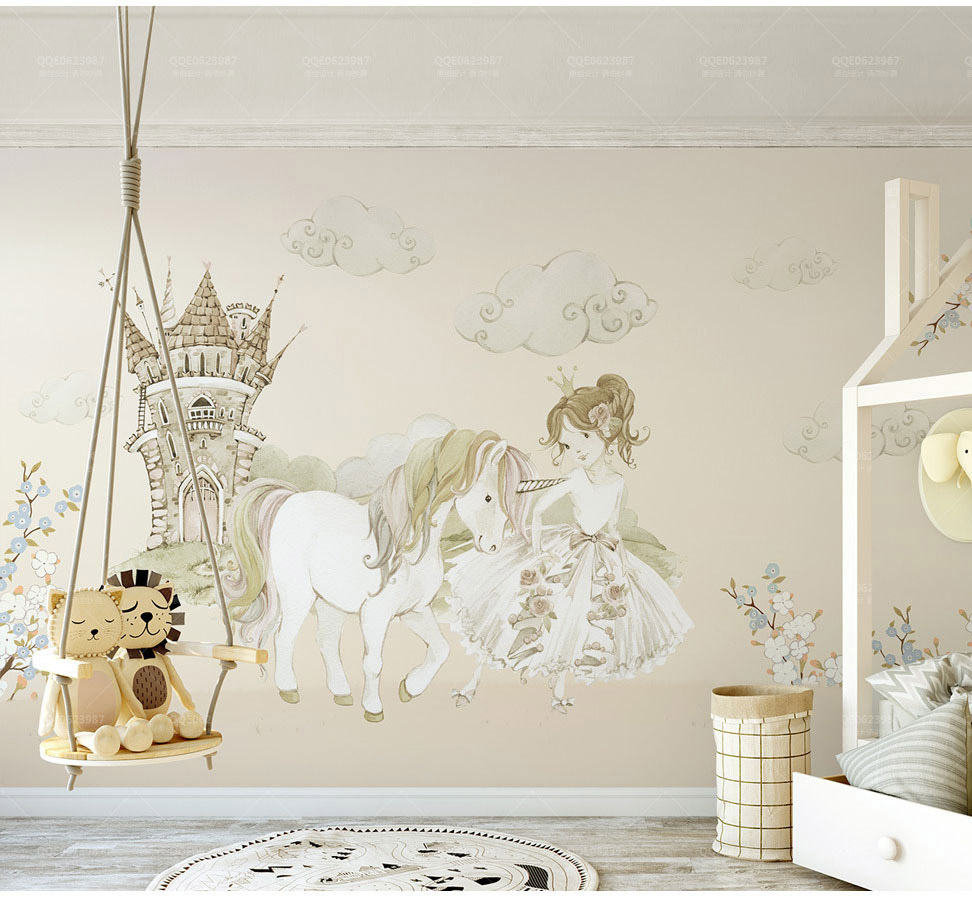 Us 10 8 40 Off Bacaz Castle Horse 3d Cartoon Princess Wallpaper Mural For Baby Girls Room Background 3d Cartoon Stickers Wall Paper Wall Decor In