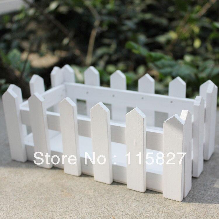 White Color Wooden Fence Artificial Flower Pot Wooden Vase Flower Holder Home or garden Decoration 21.5*11.5cm 流水 盆 養魚
