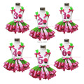 Easter White Top Bling Rose 1st 2nd 3rd Birthday Cake Green Black Hot Pink Dots Bows Satin Trim Skirt Outfit 1-8Y MAPSA0504