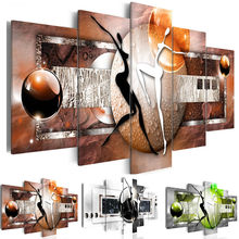 Modular Canvas Pictures Bedroom Home Decor 5 Pieces Colourful Figure Ball Painting Prints Abstract Dance Poster Wall Art Framed(China)