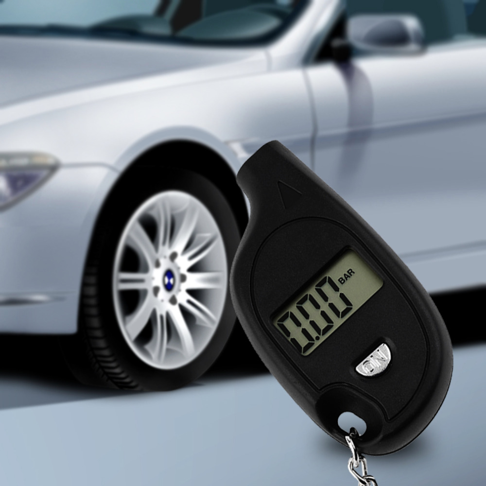 New Wholesale 1pc Mini Keychain LCD Digital Car Tire Tyre Air Pressure Gauge Auto Motorcycle Test Tool with cell lithium battery