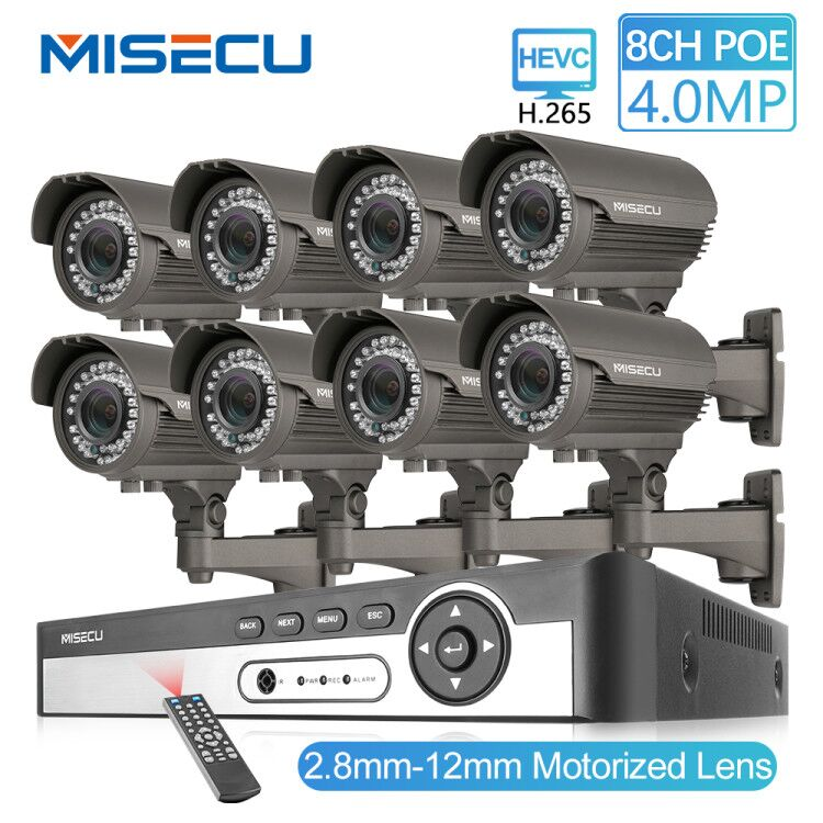 MISECU 8CH 4MP Security Camera System H.265 POE IP Camera 2.8-12mm Maunally Lens Zoom Outdoor Waterproof Video Surveillance KitMISECU 8CH 4MP Security Camera System H.265 POE IP Camera 2.8-12mm Maunally Lens Zoom Outdoor Waterproof Video Surveillance Kit