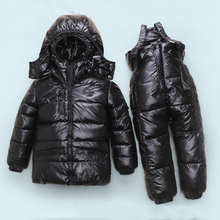Детские мальчики девочки зимняя одежда набор 90% сгущать утка вниз снег одежда для детей комбинезоны для детского вниз и парки Подходит 24 month-6T