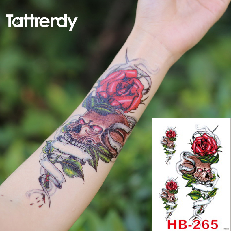 Womens Temporary Tattoos: 1pc New Large Pirate Rose Temporary Tattoo Sticker For