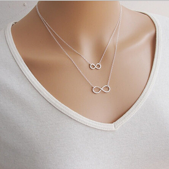 Cheap Girls Jewelry Silver Gold Tiny Chain Double Layer Infinity
