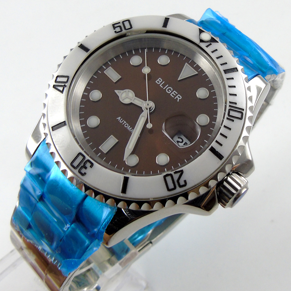 Bliger 40mm coffee dial date white Ceramics Bezel luminous saphire glass Automatic movement Men's watch esspero i nova white coffee