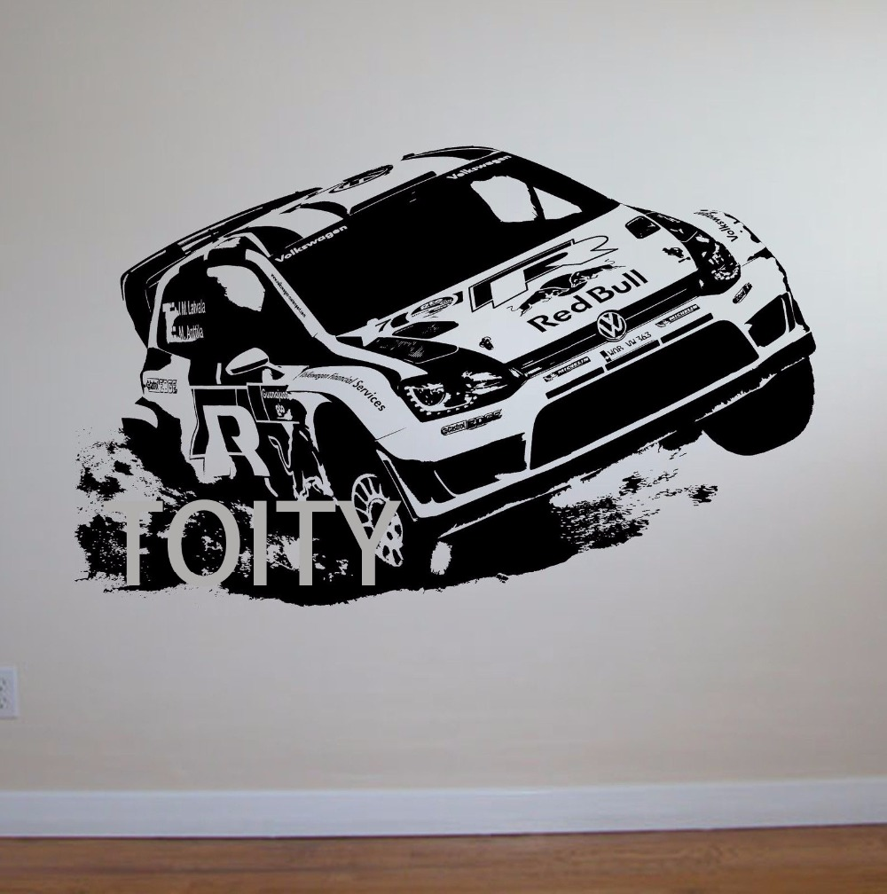 Car design sticker rally - Vw Golf Rally Car Wall Art Sticker Motorsports Decal Children Room Vinyl Mural