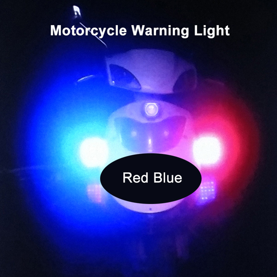 Motorcycle LED Warning light  Car light assembly Flashing Strobe Light Beacon lamp Red and Blue 12V 28W (2PC) high quality waterproof 12v 120ma safely security alarm strobe signal safety warning blue red orange flashing led light