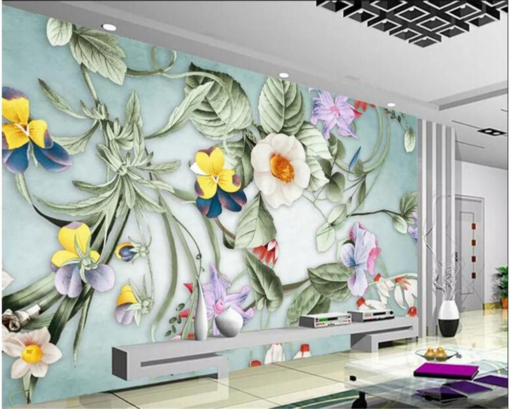beibehang Custom Fondo mural floral pintado a mano abstracto original papel de parede wallpaper wallpapers for living room