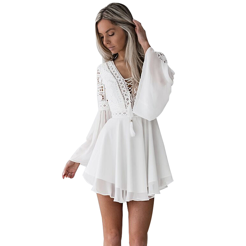 Image 3 - Hollow Out White Dress Sexy Women Mini Chiffon Dress Criss Cross Semi sheer Plunge V Neck Long Sleeve Crochet Lace Dress Black-in Dresses from Women's Clothing