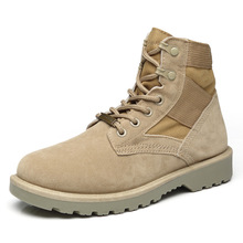 New Spring Military Boots For Men Lace Up High Top Desert Rubber Martin Shoes Casual Suede Leather Ankle Boots for Man new men casual boots breathable high top lace up shoes style fashion trend suede flat boots breathable rubber youth shoes