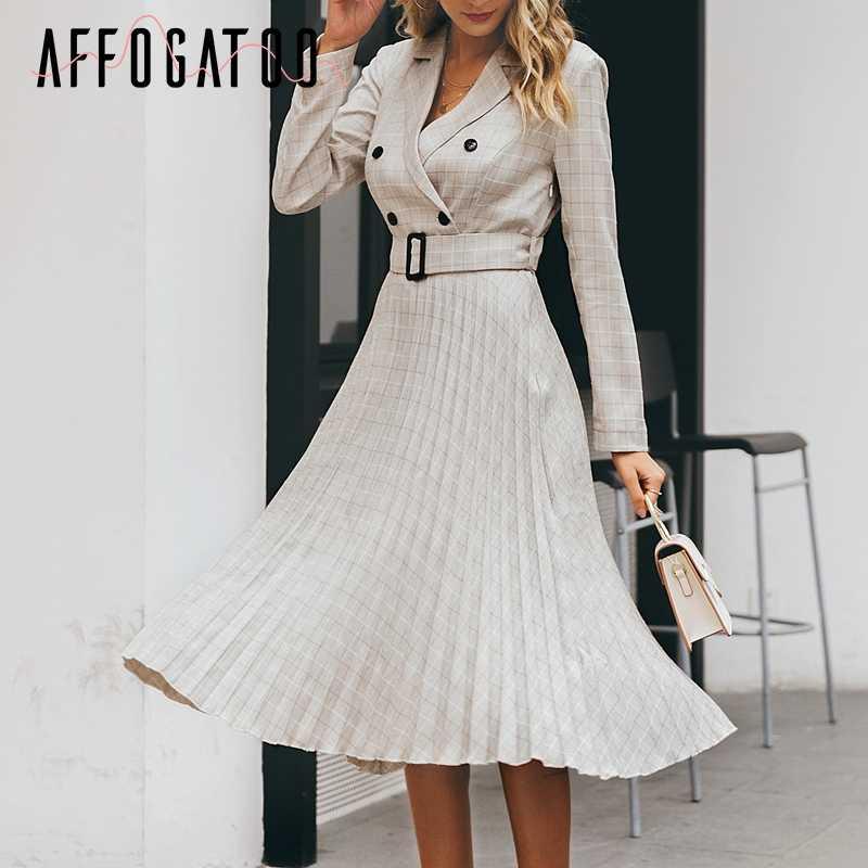 Afogafoo на элегантных кнопках ремень клетчатый женский Блейзер платье сексуальное с v-образным вырезом Плиссированное офисное женское платье с длинным рукавом Женские вечерние платья