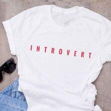 Introvertido Camiseta divertido mujeres carta impresa Geek nerd T Camisa de  algodón de manga corta cuello en O ropa de mujer Cam. 1d744db6310