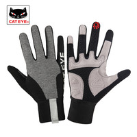 CATEYE Classic Reflective Long Finger Cycling Gloves Bicycle MTB Touch Screen Sport Gloves Breathable Men Anti Slip Bike Gloves