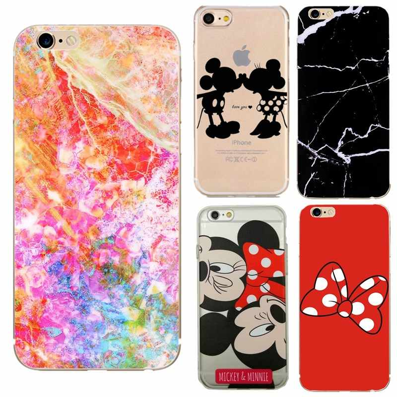 Para iphone 7 funda de mármol kissed mickey minnie funda de silicona blanda para iphone smartphone funda de 6s iphone 6 7 8 plus se x 5