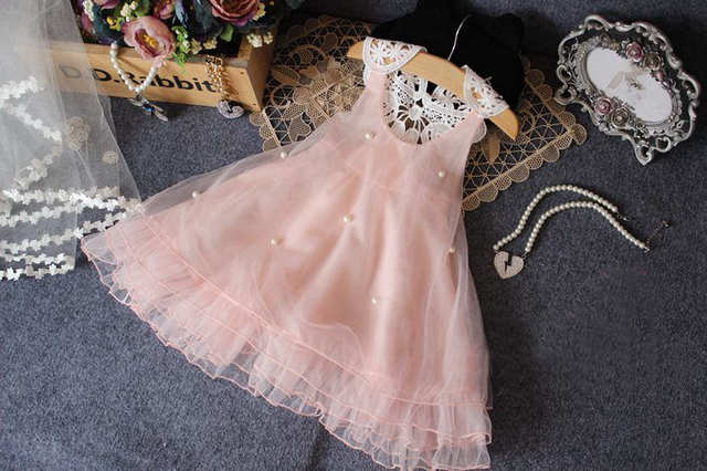 6e68522666e84 2017 New Fashon Chiffon Toddler Baby Girls Party Dress Pearl Pink Lace  Tulle Gown wedding Fancy Dress 2-7Y