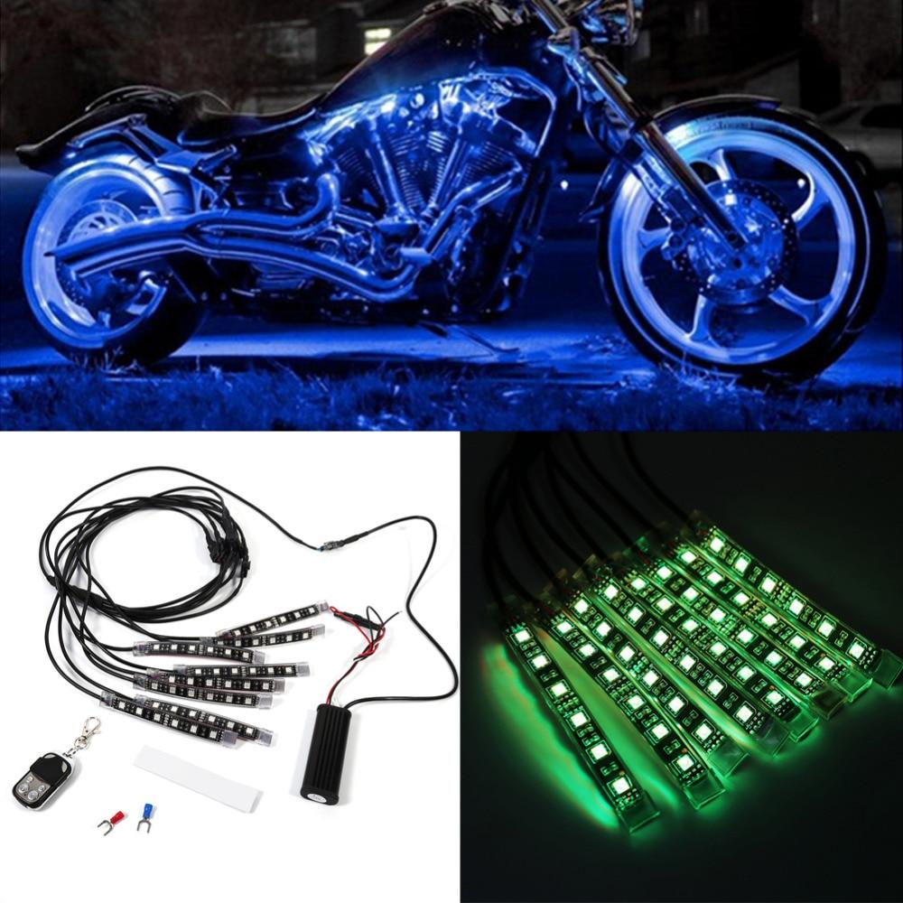 Universal 8pcs 12V 14W 6LED Motorcycle Light Strip RGB LED Tail Glow Light Kit Remote Control Multi Color