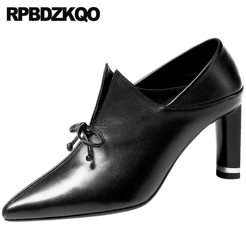 Black Pointed Toe Genuine Leather High Heels 2018 Block 3 Inch Size 4 34 Designer Women Luxury Shoes Ladies China Pumps Handmade 2018 handmade genuine leather women shoes high heels ladies blue evening pumps wedge size 4 34 china prom pointed toe famous