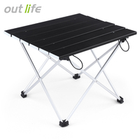 Outlife Portable Outdoor BBQ Camping Picnic Aluminum Alloy Folding Table Portable Lightweight Rain Proof Mini Rectangle