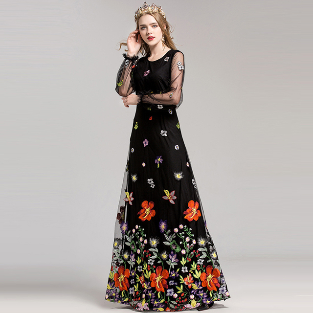 Amazing Floral Embroidery Long Dress