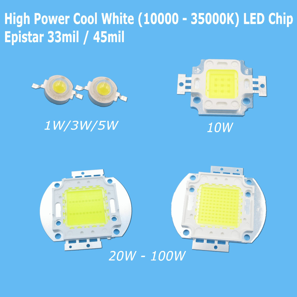 High Power Cool White COB <font><b>LED</b></font> Bulb Chip 1W 3W 5W 10W 20W 30W 50W 100W SMD Epistar 10000K 20000K <font><b>30000K</b></font> image