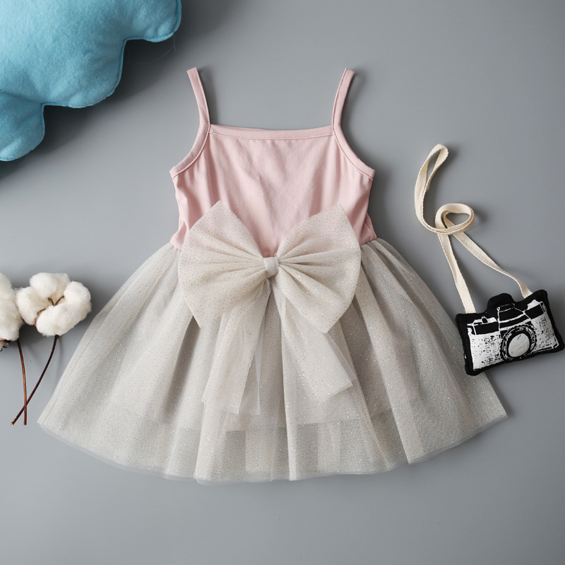 Girls Dress Sequin Tulle For Girl Party Kids Back Lace V Neck Evening Dresses Bow 2018 Princess Party Birthday Dress