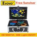 """Atualizado Eyoyo Original 30 m Inventor Dos Peixes de Pesca Submarina Câmera de Vídeo 7 """"cor HD 1000TVL HD CAM Controle de Luz Do Monitor Sunvisor"""