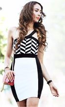 one shoulder black and white jacquard bandage dress 2014 new arrival party dress wholesale Dress + suit(China)