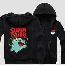 Новый Покемон идти Толстовка Аниме Pocket Monster Bulbasaur Косплей Пальто Повседневная Мужская Одежда Толстовка На Молнии