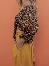 все цены на sexy Leopard grain ladies crop tops women elegant backless bow tie top shirt summer fashion casual bandage blouse 2019 онлайн
