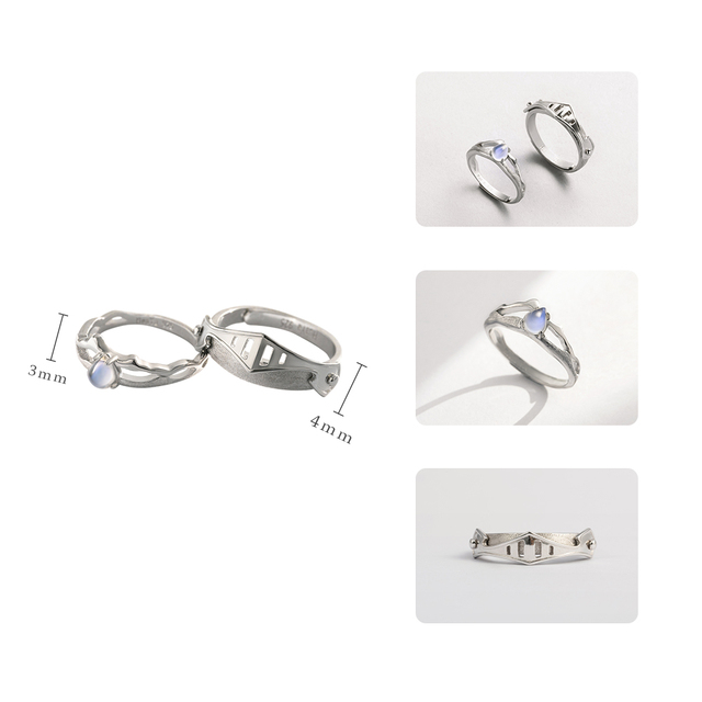 Thaya Natural Blue Light Moonstone Rings Lovers' Romantic Ring 100% s925 Silver Armour Bands For Women Vintage Elegant Jewelry 3