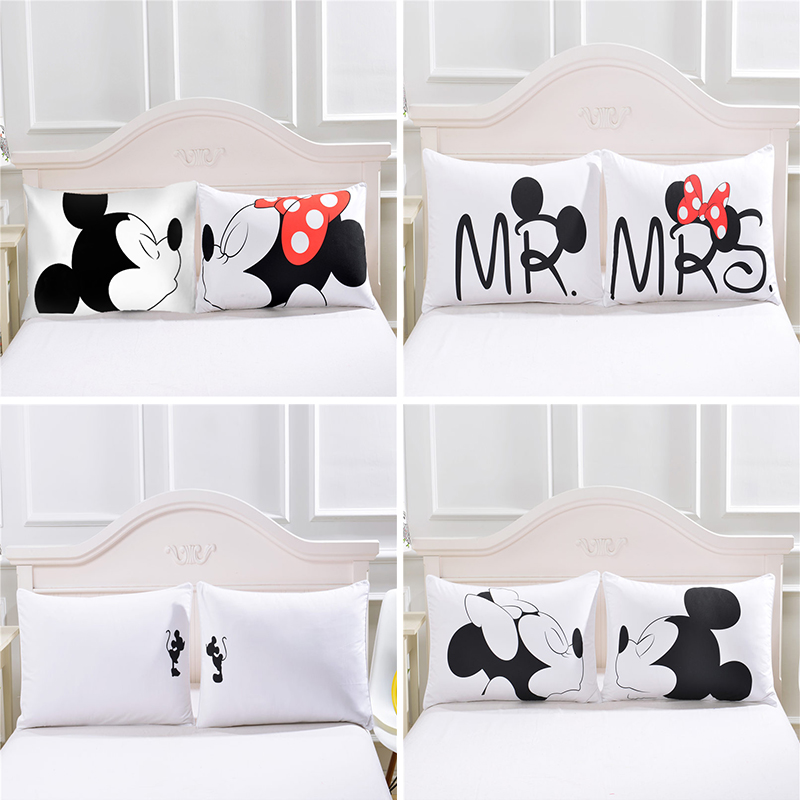 Cute Body Pillow Cases : Moonpalace Cute Mickey Couple Pillow Case Plain Printed White Body Pillowcase Cover Valentine s ...