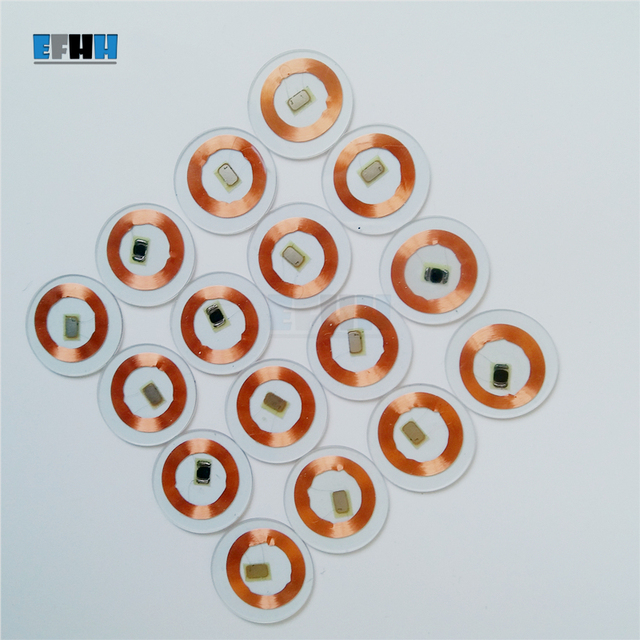 Chip TK4100/EM4100 de 125KHZ + diámetro de la bobina 25mm, tarjeta de moneda de PVC transparente, lectura única, tarjeta de identificación RFID en la tarjeta de Control de acceso