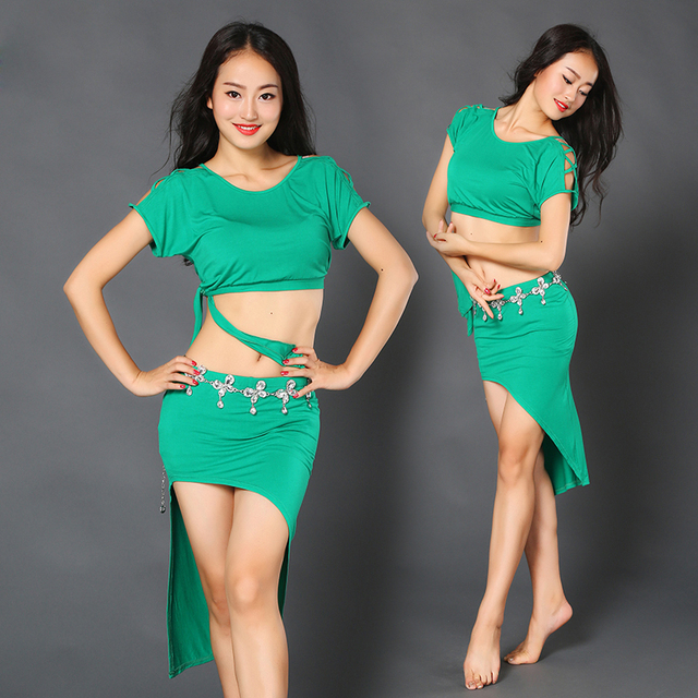 948c350cd0b8 Sexy belly dance clothes Elegant short sleeves top+ skirt 2pcs belly ...