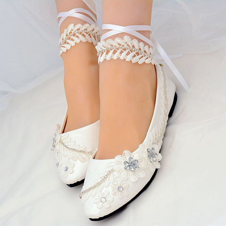 New Aprial flats lace wedding shoes